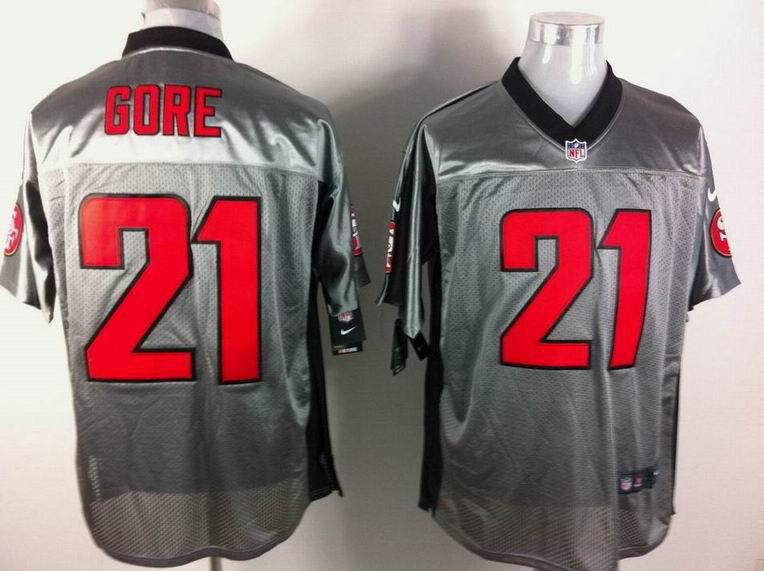 San Francisco 49ers 21 Frank Gore Nike Gray shadow jerseys