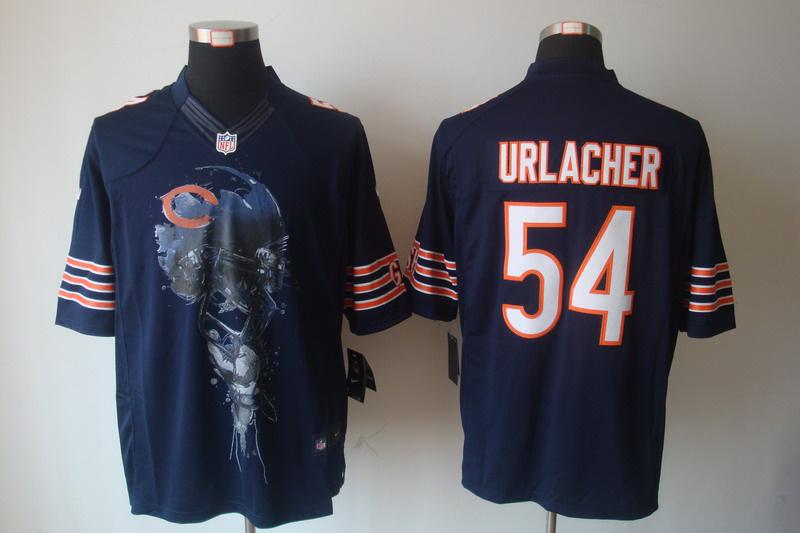 Chicago Bears 54 Brian Urlacher Blue nike Helmet Tri-Blend Limited Jersey