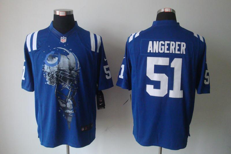 Indianapolis Colts 51 Pat Angerer Blue nike Helmet Tri-Blend Limited Jersey