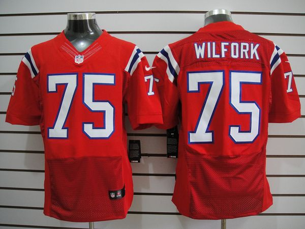 New England patriots 75 Vince Wilfork Red Elite nike jerseys
