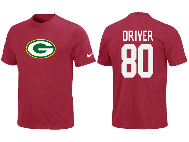 Nike Green Bay Packers 80 Donald Driver Name Number T-Shirt Green Red