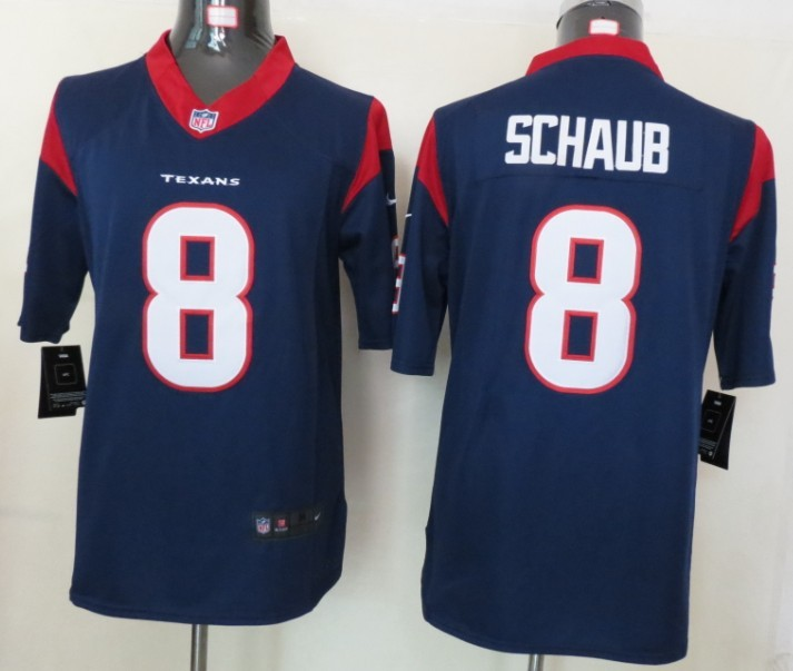 Houston Texans 8 Schaub Blue Nike Limited Jerseys