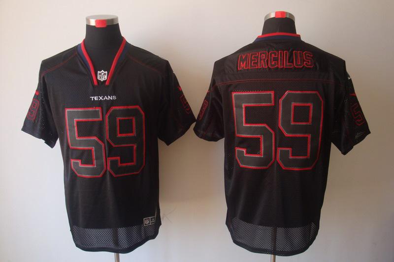 Houston Texans 59 Mercilus Nike Lights Out Black Elite Jerseys