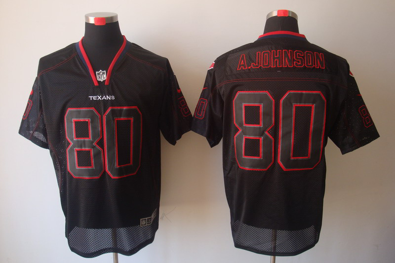 Houston Texans 80 Johnson Nike Lights Out Black Elite Jerseys