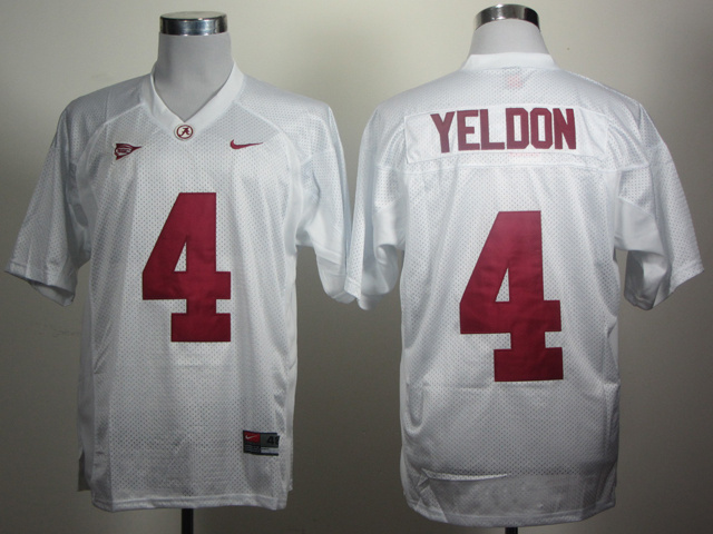 NCAA Alabama Crimson Tide 4 Yeldon White Jerseys