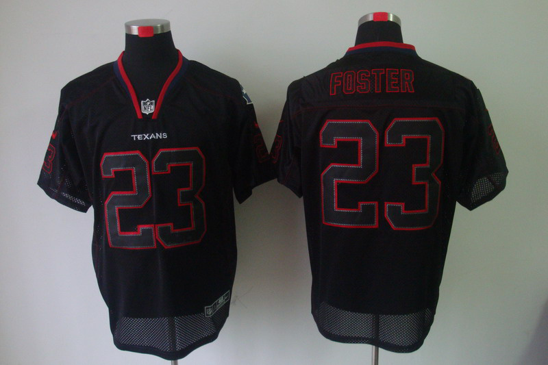 Houston Texans 23 Foster Nike Lights Out Black Elite Jerseys