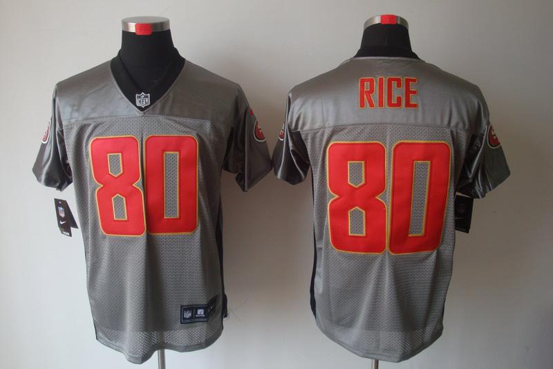 San Francisco 49ers 80 Rice Nike Gray shadow jerseys