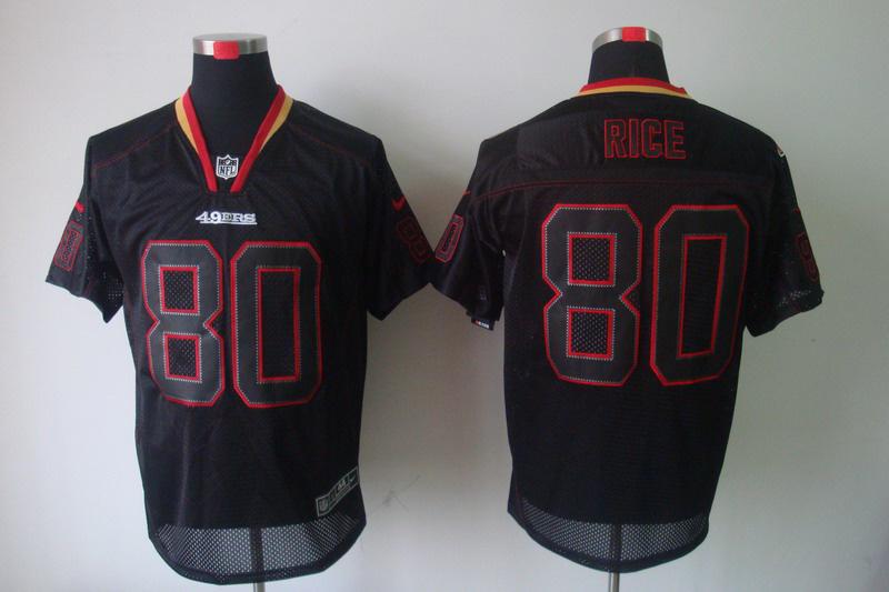 San Francisco 49ers 80 Jerry Rice Nike Lights Out Black Elite Jerseys
