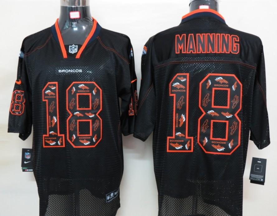 Denver Broncos 18 Manning Nike Lights Out Black Elite Jerseys
