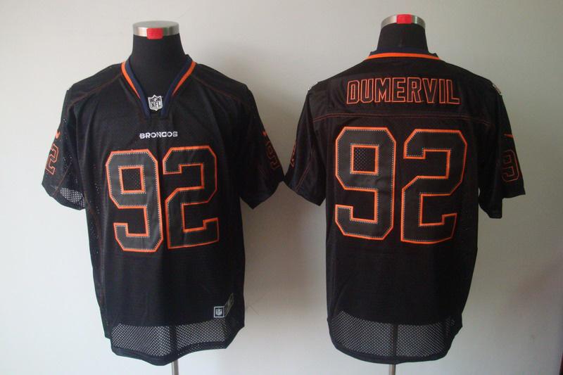 Denver Broncos 92 Dumervil Nike Lights Out Black Elite Jerseys