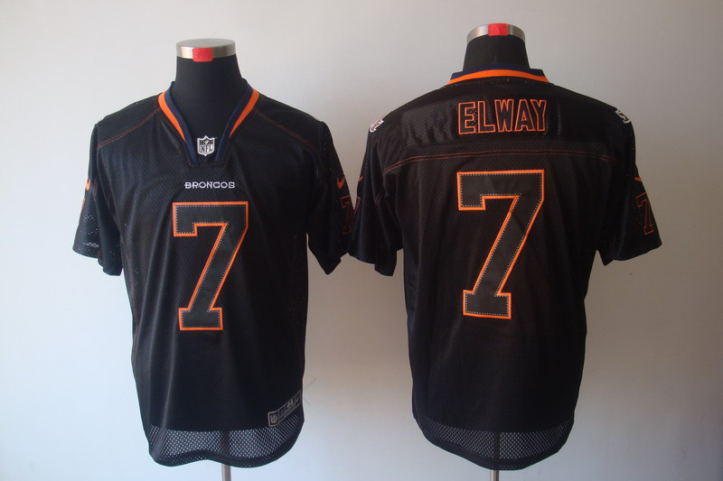 Denver Broncos 7 John Elway Nike Lights Out Black Elite Jerseys