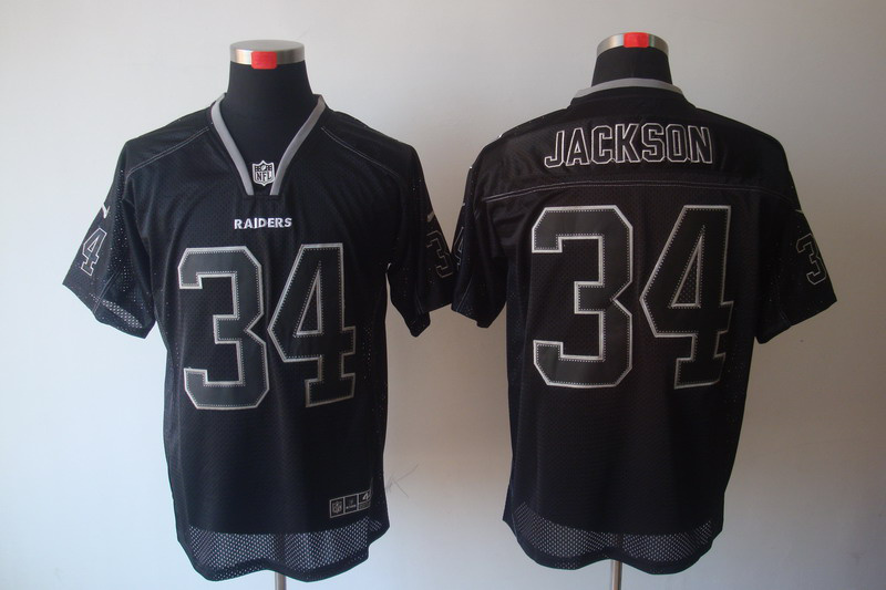 Okaland Raiders 34 Bo Jackson Nike Lights Out Black Elite Jerseys