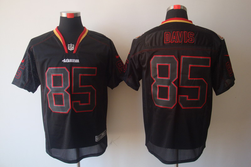 San Francisco 49ers 85 Davis Nike Lights Out Black Elite Jerseys
