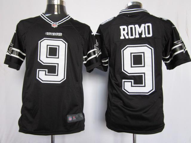 Dallas Cowboys 9 Romo Black Game Nike Jerseys