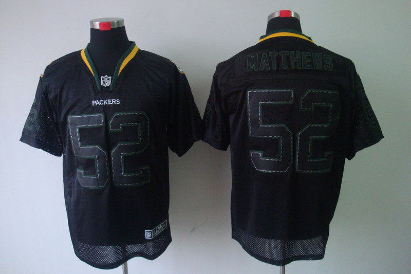 Green Bay Packers 52 Matthews Nike Lights Out Black elite Jerseys