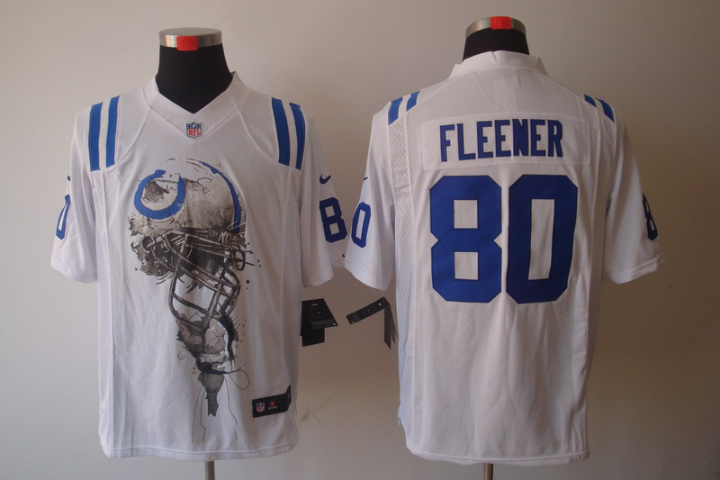 Indianapolis Colts 80 Fleener White Nike Helmet Tri-Blend Limited Jersey