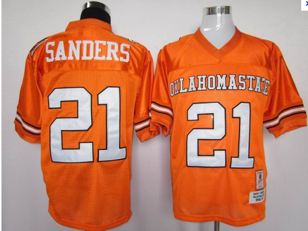 NCA Oklahoma State Cowboys 21 barry sanders orange jersey