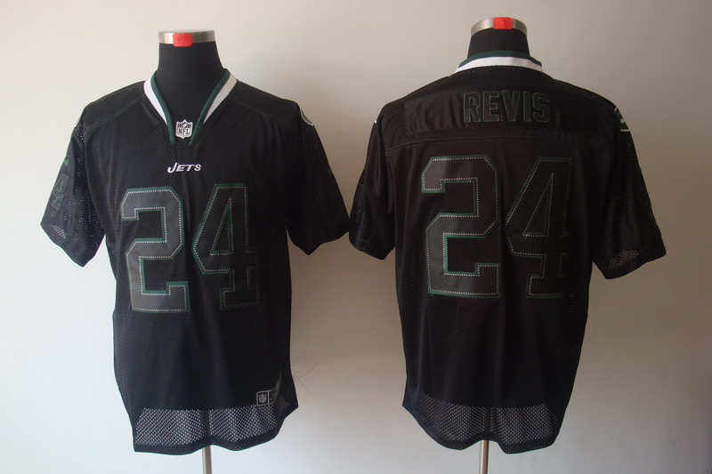 New York Jets 24 Revis Nike Lights Out Black Jerseys