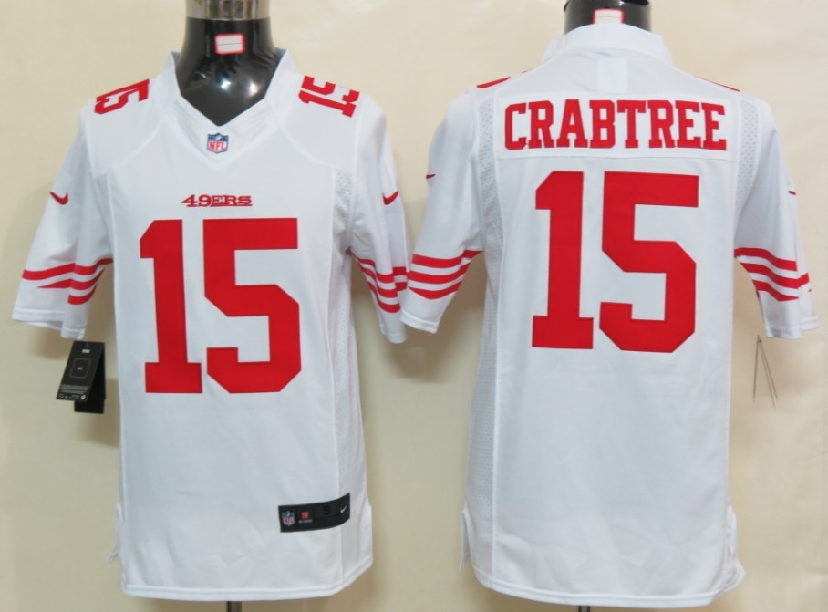 San Francisco 49ers 15 Crabtree White Nike Limited Jersey