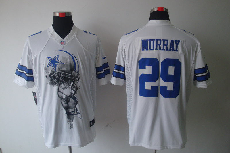 Dallas cowboys 29 Murray White Nike Helmet Tri-Blend Limited Jersey