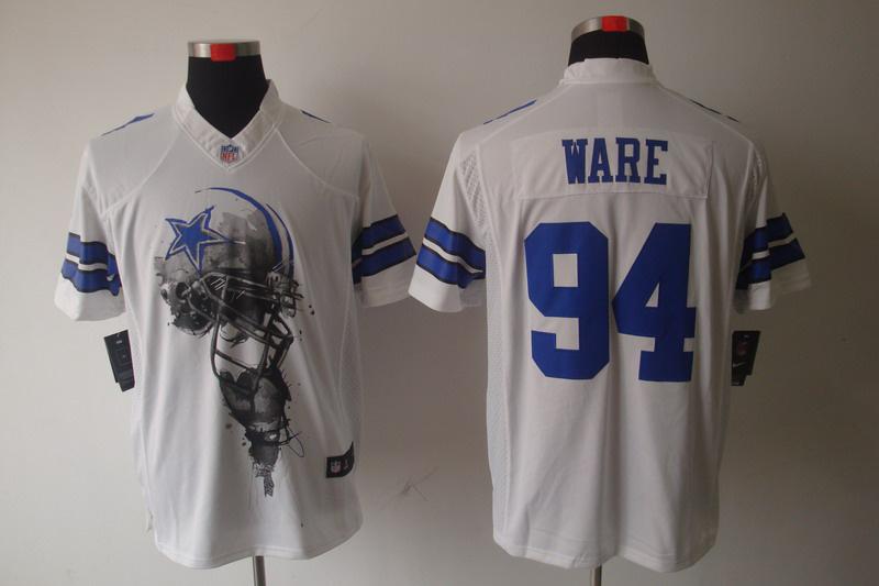 Dallas cowboys 94 Ware White Nike Helmet Tri-Blend Limited Jersey