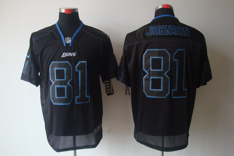 Detroit Lions 81 Johnson Nike Lights Out Black Elite Jerseys