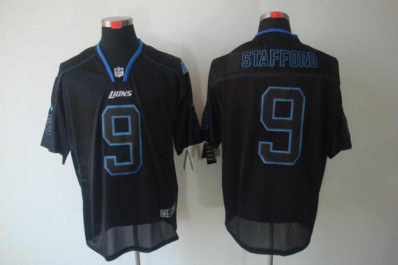 Detroit Lions 9 Stafford Nike Lights Out Black Elite Jerseys