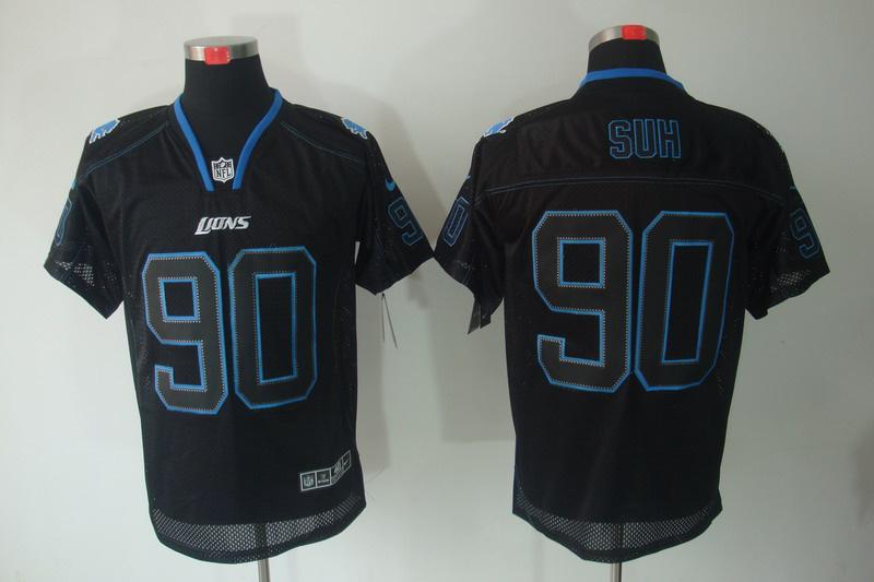 Detroit Lions 90 Suh Nike Lights Out Black Elite Jerseys