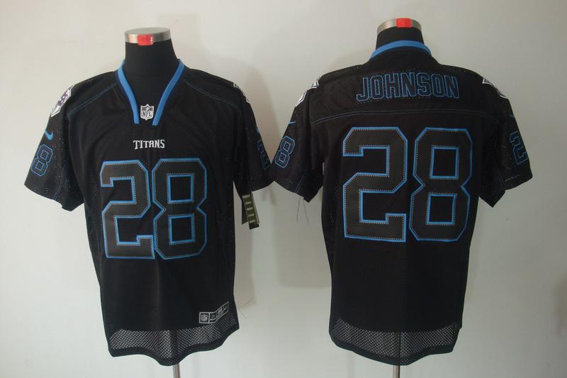 Tennessee Titans 28 Chris Johnson Nike Lights Out Black Elite Jerseys