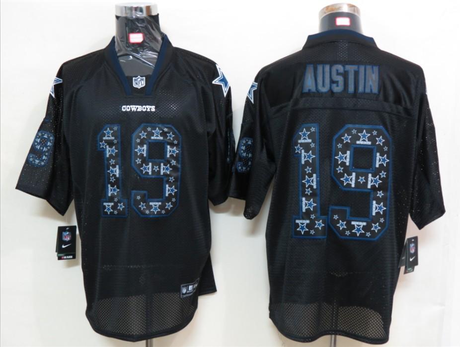 Dallas cowboys 19 Austin Nike Lights Out Black Elite Jerseys