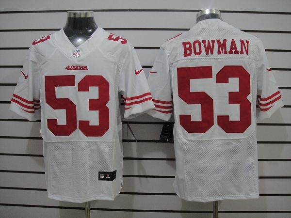 San Francisco 49ers 53 Bowman White Elite Nike jerseys