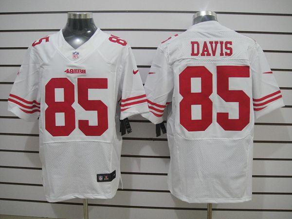 San Francisco 49ers 85 Davis White Elite Nike jerseys