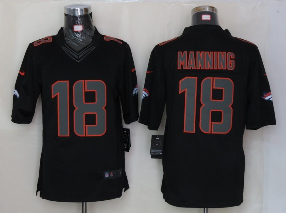 Denver Broncos 18 Manning Impact Limited Black nike Jersey