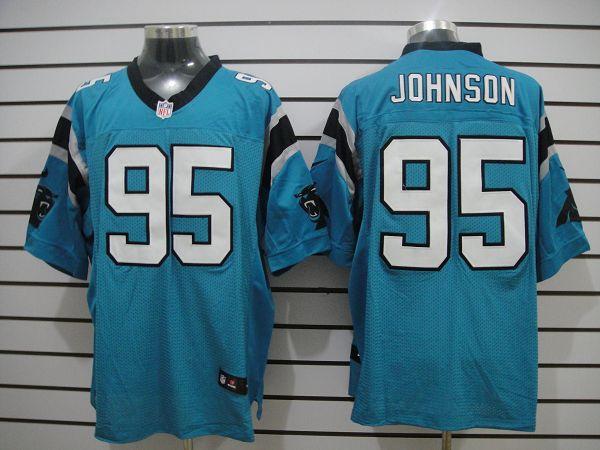 Carolina Panthers 95 Johnson Blue Elite Nike jerseys
