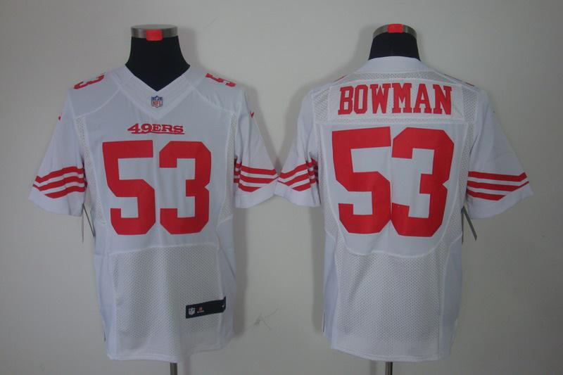 San Francisco 49ers 53 Bowman white Elite Nike jerseys