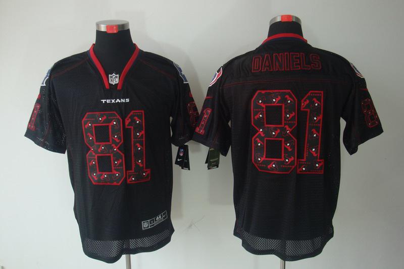Houston Texans 81 Daniels Nike Lights Out Black Elite Jerseys