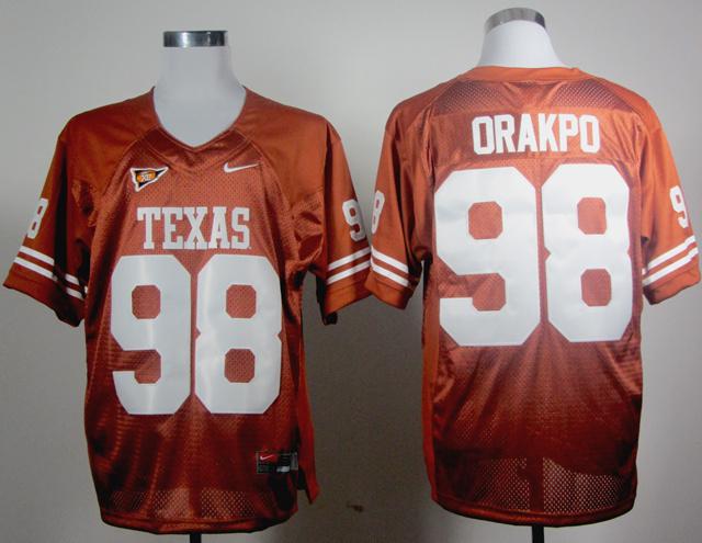 NCAA Texas Longhorns 98 Orakpo Orange Jerseys