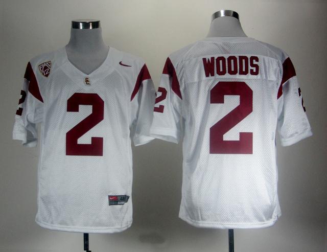 NCAA USC Trojans 2 Robert Woods White Jersey