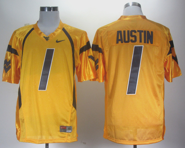 NCAA West Virginia Mountaineers 1 Tavon Austin Orange Jersey