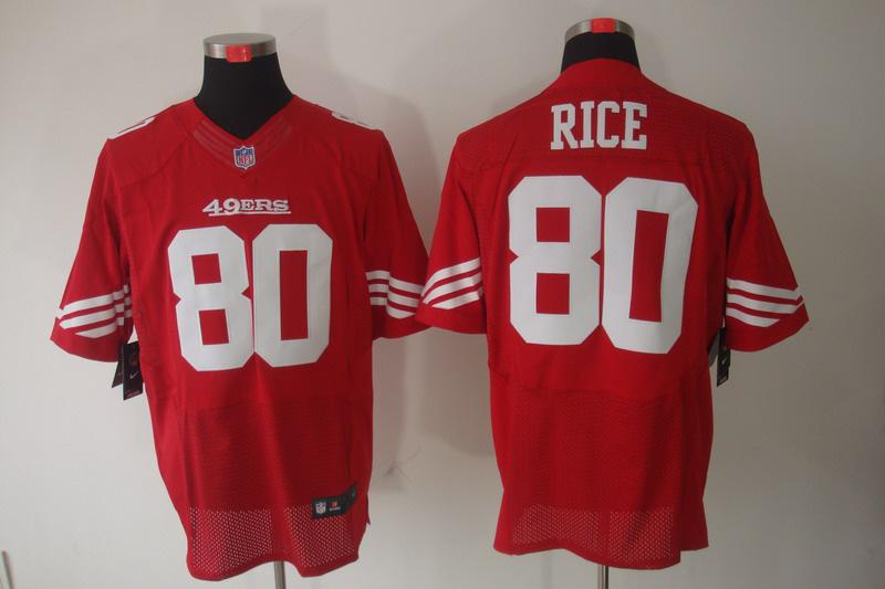 San Francisco 49ers 80 Rice red Elite Nike jerseys