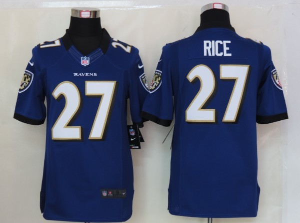 Baltimore Ravens 27 Rice Purple Nike Limited Jersey