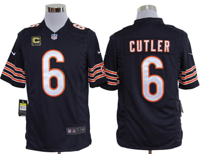 Chicago Bears 6 Cutler Blue with C patch Game Nike jerseys