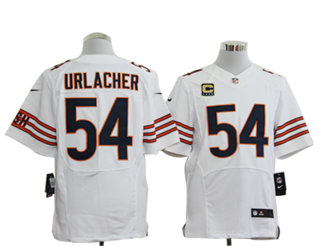 Chicago Bears 54 Urlacher White with C patch Elite Nike jerseys