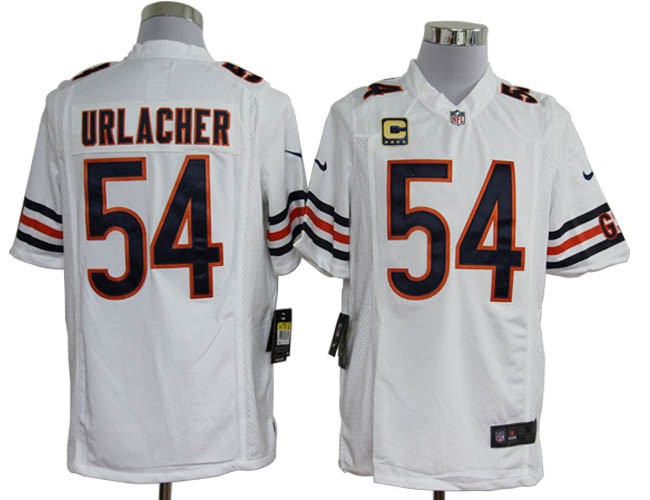 Chicago Bears 54 Urlacher White with C patch Game Nike jerseys