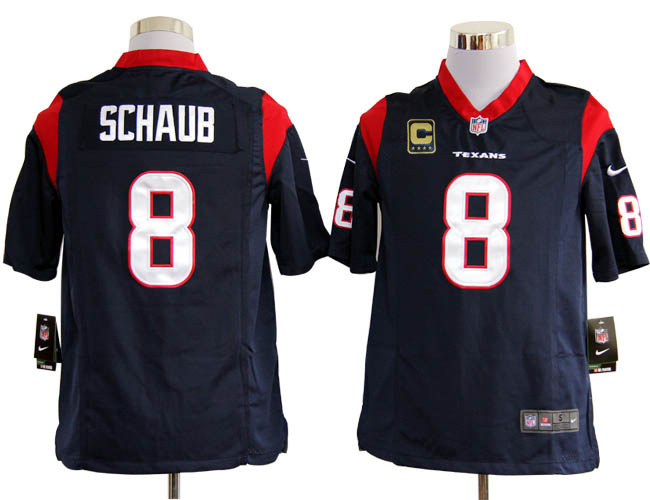 Houston Texans 8 Schaub Blue with C patch Game Nike jerseys