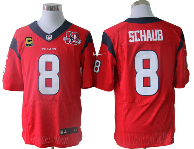 Houston Texans 8 Schaub Red 10TH with C patch Elite Nike jerseys