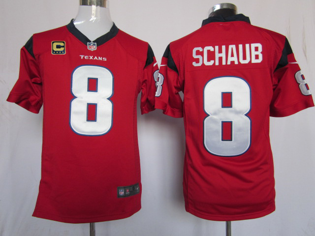 Houston Texans 8 Schaub Red with C patch Game Nike jerseys