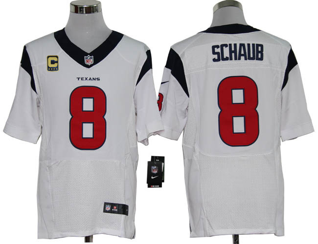 Houston Texans 8 Schaub White with C patch Elite Nike jerseys