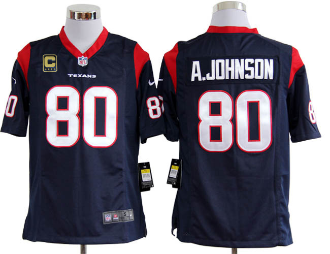 Houston Texans 80 A.johnson Blue with C patch Game Nike jerseys