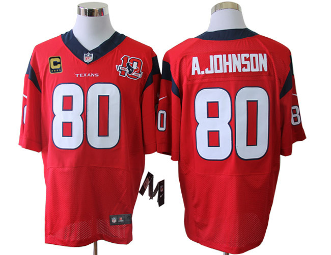 Houston Texans 80 A.johnson Red 10TH with C patch Elite Nike jerseys